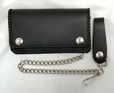 "Black Leather Biker Trucker Wallet 6"" x 3.5"" Braided Trim With 12"" Chain"