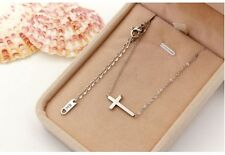 """Sideways Cross 16"""" or 18"""" Necklace Silver Gold Stainless Steel Pendant Gift NP"""