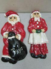 Santa Mrs Claus Cookie Dough Handmade Ornaments Vintage 1981 3D Hair Set of 2