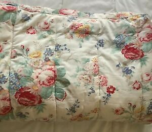 Vintage Ralph Lauren Elisa white pink floral TWIN thick heavy comforter FLAWS!