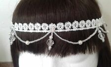 1920 S Style Ivoire Hand Beaded, Occasion Spéciale coiffure Downton Festival