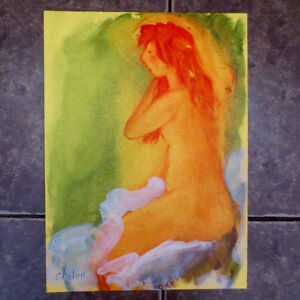 NUDE WOMAN COMBING HAIR Orig. Oil Painting LISTED RUSSIAN Armenian artist CHAHIN