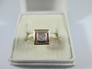 UNUSUAL PRE-OWNED 9ct GOLD 5 STONE DIAMOND RING UK SIZE Q  1.9g