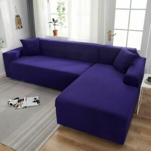 Plain Color Elastic Stretch Sofa Cover L-style Funda Sofa Con Chaise Longue Case
