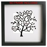 PERSONALISED HEART FAMILY TREE Vinyl Decal Sticker Box Frame DIY RIBBA IKEA