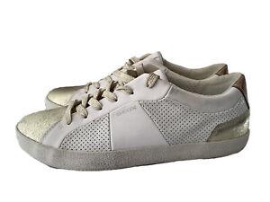 GEOX RESPIRA Gold Leather Tennis Shoe Sneaker Womens 6/36 Comfort Shoe