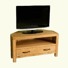 Waxed Oak Corner TV Cabinet Stand Media Storage Side Furniture Entertainment