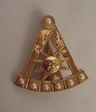 Vtg Victorian 10k Gold Mason Masonic Freemasonry Square Compass Sun Seed Pearls