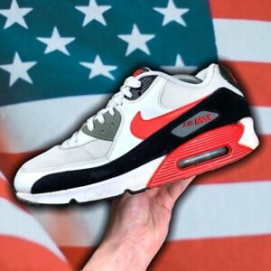 Mens Nike Air Max 90 Essential 'White Black Red' Size: US10 UK9 EUR44 28CM