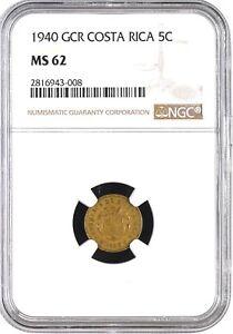 Costa Rica: 5 Centimos 1940 GCR, NGC MS-62, KM# 151