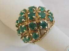 9Carat 9ct YELLOW GOLD EMERALD DOME DESIGN RING, SIZE O, 9.1 Grams