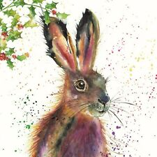 Christmas Cards Fluffy Hare 10 Pack With Envelopes Charity Xmas Holly Festive