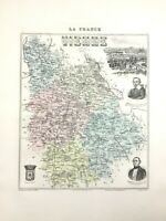1893 Antique Map of Vienne Poitiers France French Department Hand Coloured