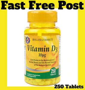 Holland & Barrett Vitamin D3 10ug 250 Tablets