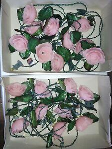 Vintage Kurt Adler Christmas Lights Pink Roses