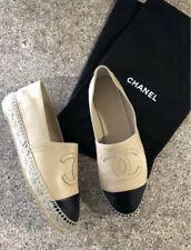 CHANEL Espadrilles SHOES Black Leather CC Large LOGO Beige SIZE 38 MSRP $895 Box