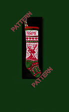 Pattern only ~ hand knit Christmas stocking, candy cane and reindeer
