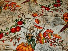 Fall Harvest Fabric L'Automme Toile Large Allover Pumpkin Apples Acorns Oak BTY
