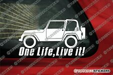 2x 'ONE LIFE, LIVE IT' Jeep Wrangler Stickers 4x4 offroad truck Decals
