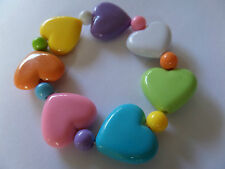 PRETTY PASTEL MULTI COULOURED HEART STRETCH BRACELET
