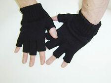Gothic Horror Punk Goth Rock Psychobilly 80s Mens Black Knit Fingerless Gloves