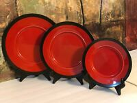 3 NEW Vintage Studio Pottery Red Lava Black Platter Plates Retro Decor Hand Made