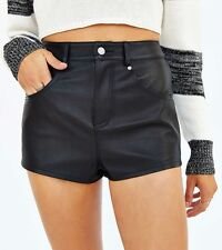 Urban Outfitters BDG Black Leather High Waist Shorts Size 24 XS 0