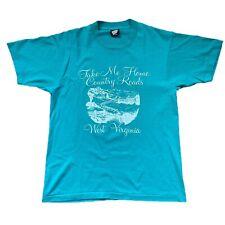 Vintage John Denver T-Shirt Country Roads West Virginia Large Single Stitch 1985