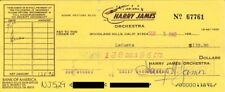 HARRY JAMES - CHECK SIGNED 09/05/1982
