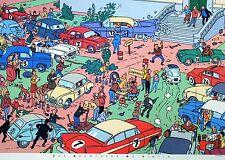 Affiche Hergé Tintin Moulinsart Voitures 50x70 cm