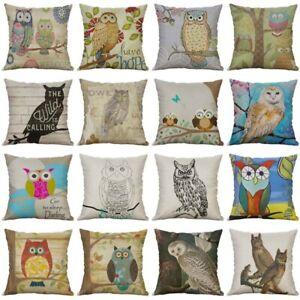 Cover Sofa Cushion Decor Home Pillow Owl pattern Case 18'' Cotton Linen