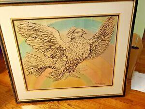 Picasso Dove - Original color Lithograph - Framed