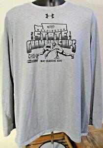Under Armour Grey Mat Classic Wrestling Loose HeatGear LS Shirt Size L Men's EUC