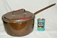 VERY LARGE ANTIQUE COPPER SAUCE PAN SAUCEPAN WITH LID AND HANDLE 31 CMS DIAMETER