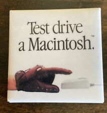 "Vintage Apple Computer ""Test Drive a Macintosh"" Gloved Hand Pinback Button Pin"