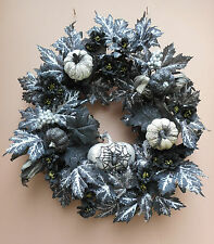 "21"" Halloween Silver Black Pumpkin Fall Door Wreath Handmade"