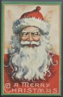 ~Big White~Beard ~Red Robe Santa Claus ~Antique Christmas Postcard~-a965
