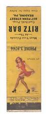Ritz Bar Reading Pennsylvania Sexy Pin-Up Girl Vintage Matchbook Cover B96