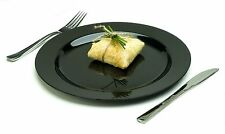 10 Heavy Duty, PLASTIC PLATES..... Black stylish dinner party ware mozaik dishes