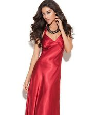 Long Nightgown Large L Women Red Charmeuse Satin Halter Lingerie Nightie Sexy