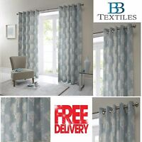 Woodland Forest Trees Fully Lined Eyelet Ready Made Curtains Duck Egg
