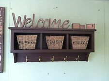 "Cubby Wall Shelf Country Shelf for Baskets Bath Or Entryway W Hooks 36"" With Bac"