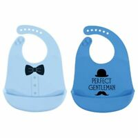 Hudson Baby Boy Silicone Bib, 2-Pack, Perfect Gentleman
