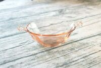 vintage pink depression glass candy dish with handles