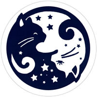 Starry Yin Yang Cats - Small Bumper Sticker / Decal