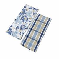Martha Stewart Embellished Floral and Plaid 100% Cotton Kitchen Towels Set of 2