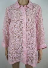 ALLISON DALEY II Blouse Size 20W Pink Floral Sheer