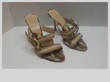 Christian Dior Beige Gold Strappy Crossover Buckle Sandals Stiletto Heels 37