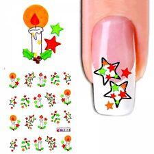 J324 NAGELSTICKER WINTER Weihnachten Kerzen Sterne water transfer Fingernagel Na