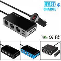 120W Car Cigarette Lighter Splitter 3 Sockets 4 USB Charger Power Adapter Outlet